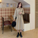 Dress Spring 2021 Apricot, Navy Average size longuette singleton  Long sleeves commute Polo collar High waist Solid color Single breasted A-line skirt routine Others 18-24 years old Type A Korean version Y0314 31% (inclusive) - 50% (inclusive) cotton