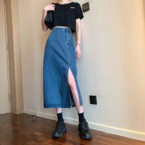 skirt Spring 2021 S,M,L,XL Light blue, dark blue Mid length dress commute High waist Denim skirt Solid color Type A 18-24 years old 31% (inclusive) - 50% (inclusive) Denim polyester fiber Korean version