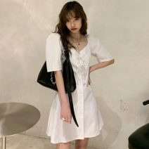 Dress Summer 2021 white Average size Middle-skirt singleton  Short sleeve commute V-neck High waist Solid color Single breasted Princess Dress routine Others 18-24 years old Type A Korean version Y0321 31% (inclusive) - 50% (inclusive) cotton