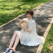 Dress Summer 2021 White, pink Average size Mid length dress singleton  Short sleeve commute Crew neck High waist Solid color Socket A-line skirt routine Others 18-24 years old Type A Korean version C0406 31% (inclusive) - 50% (inclusive) other polyester fiber
