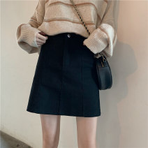 skirt Winter 2020 S, M Black, apricot Short skirt commute High waist A-line skirt Solid color Type A 18-24 years old 31% (inclusive) - 50% (inclusive) other polyester fiber Korean version
