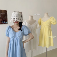 Dress Spring 2021 White, blue, yellow M, L Short skirt singleton  Short sleeve commute V-neck Elastic waist Solid color Socket other other Others 18-24 years old Type H Korean version J0315 31% (inclusive) - 50% (inclusive) other polyester fiber