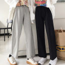 Casual pants Grey, black, grey plush, black plush Average size Spring of 2019 trousers Wide leg pants Natural waist Versatile routine 18-24 years old 51% (inclusive) - 70% (inclusive) Cotton blended fabric cotton