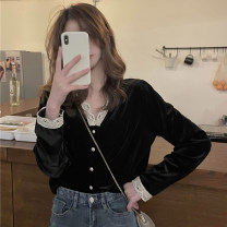 shirt black Average size Spring 2021 polyester fiber 91% (inclusive) - 95% (inclusive) Long sleeves commute Short style (40cm < length ≤ 50cm) V-neck Single row multi button routine Solid color 18-24 years old Straight cylinder Korean version 0103g