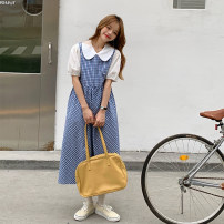 Dress Summer 2021 Blue plaid skirt, shirt Average size Mid length dress singleton  Sleeveless commute other middle-waisted lattice Socket other routine Others 18-24 years old Type H Korean version C0406 31% (inclusive) - 50% (inclusive) other cotton