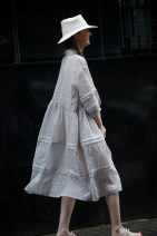 Dress Summer 2021 Glacial ash Average size longuette singleton  three quarter sleeve commute stand collar Loose waist other Single breasted Big swing bishop sleeve Others 25-29 years old Type H Flowers, trees and fruits Simplicity Pleated button print 31% (inclusive) - 50% (inclusive) polyester fiber