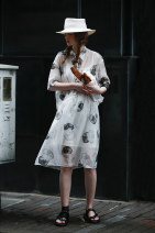 Dress Summer 2021 Printed white S M L Mid length dress Two piece set elbow sleeve commute stand collar Loose waist Dot Single breasted other routine 25-29 years old Type H Flowers, trees and fruits Simplicity Patchwork printing 21XB1096L 71% (inclusive) - 80% (inclusive) cotton