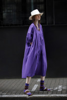 Dress Summer 2021 Sweet taro purple S M L longuette singleton  three quarter sleeve commute V-neck Loose waist Solid color Big swing Others 25-29 years old Type H Flowers, trees and fruits Simplicity Splicing 21XHS3030L More than 95% cotton Cotton 100% Pure e-commerce (online only)