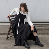 Dress Autumn 2020 Gluten black S M L Mid length dress singleton  Sleeveless commute square neck Loose waist Solid color zipper Big swing other straps 25-29 years old Type H Flowers, trees and fruits Simplicity Stitching asymmetric buttons FW20091Z More than 95% other cotton Cotton 100%