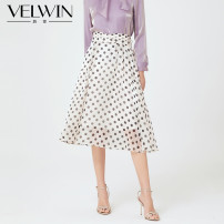skirt Summer 2021 155/S/36 160/M/38 165/L/40 Rice black (TW) Mid length dress commute High waist A-line skirt Dot Type A 25-29 years old KEBB303A29 More than 95% velwin polyester fiber Simplicity Polyester 100% Same model in shopping mall (sold online and offline)