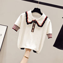 Wool knitwear Summer 2020 S M L White black Short sleeve singleton  Socket other More than 95% have cash less than that is registered in the accounts Thin money Self cultivation Doll Collar Solid color Socket SOMb079/xx63 18-24 years old Beauty of cotton Button Other 100%