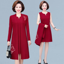 Middle aged and old women's wear Spring 2021 Red and black XL recommendation 90-105 kg 2XL recommendation 105-120 kg 3XL recommendation 120-132 kg 4XL recommendation 132-142 kg 5XL recommendation 142-155 kg commute Dress easy singleton  Solid color Socket moderate Crew neck Medium length routine