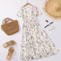 Dress Summer 2020 M L XL 2XL Mid length dress singleton  Short sleeve Crew neck Elastic waist Socket routine 18-24 years old Charming catkins a3aahQ More than 95% other Other 100%