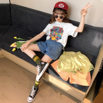 suit Guldoeleph / Gudong elephant 120cm 130cm 140cm 150cm 160cm 170cm female summer Korean version Short sleeve + pants 2 pieces Thin money There are models in the real shooting Socket nothing Cartoon animation cotton children Expression of love Class B Cotton 100% Summer 2020 Chinese Mainland