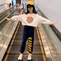 suit Guldoeleph / Gudong elephant Hanfan map printed sweater + slacks 120cm 130cm 140cm 150cm 160cm 170cm female spring Korean version Long sleeve + pants 2 pieces Thin money There are models in the real shooting Socket nothing letter cotton children Expression of love TZ0417 Class B Spring 2021