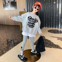 suit Guldoeleph / Gudong elephant Han Fan cartoon sweater + Leggings 120cm 130cm 140cm 150cm 160cm 170cm female spring Korean version Long sleeve + pants 2 pieces Thin money There are models in the real shooting Socket nothing Cartoon animation cotton children Expression of love TZ0449 Class B