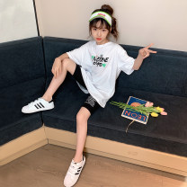 suit Guldoeleph / Gudong elephant White cartoon leisure sports suit black cartoon leisure sports suit 120cm 130cm 140cm 150cm 160cm 170cm female summer Korean version Short sleeve + pants 2 pieces Thin money There are models in the real shooting Socket nothing Cartoon animation cotton children TZ0347