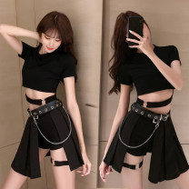 skirt Summer 2020 S,M,L,XL Short skirt street High waist Pleated skirt Solid color Type A 18-24 years old Fold, asymmetric Hip hop