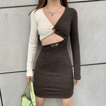 Dress Autumn 2020 brown S,M,L Short skirt singleton  Long sleeves street V-neck High waist other other Pencil skirt routine Others 18-24 years old Type A Make old, cut out K20D10600 81% (inclusive) - 90% (inclusive) other polyester fiber Europe and America