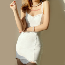 Dress Winter 2020 white S,M,L Short skirt singleton  Sleeveless street other High waist Solid color Socket Pencil skirt other camisole 18-24 years old Type A Auricularia auricula, splicing, making old K20D10857 81% (inclusive) - 90% (inclusive) other cotton Europe and America