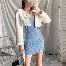 Dress Autumn 2020 S,M,L Short skirt singleton  Sleeveless street other High waist Solid color other other other camisole 18-24 years old Type A 81% (inclusive) - 90% (inclusive) other polyester fiber Europe and America