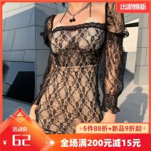 Dress Winter 2020 black S,M,L,XL Short skirt singleton  Long sleeves street One word collar High waist Solid color Socket other routine Others 25-29 years old Type A Lace K20D10192 More than 95% Lace polyester fiber Europe and America