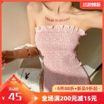 Dress Summer 2021 Pink S,M,L Short skirt singleton  Sleeveless street other High waist Decor Socket Pencil skirt other Breast wrapping 18-24 years old Type A Ruffles, stitching, making old K21D00983 91% (inclusive) - 95% (inclusive) other polyester fiber Europe and America