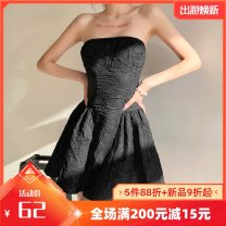 Dress Summer 2021 black S,M,L Short skirt singleton  Sleeveless street other High waist Solid color other Princess Dress other Breast wrapping 18-24 years old Type A Patching, patching K21D00489 91% (inclusive) - 95% (inclusive) other polyester fiber Europe and America