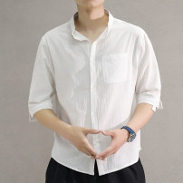 shirt Youth fashion M,L,XL,2XL,3XL,4XL,5XL White, black, army green Thin money stand collar Short sleeve easy Other leisure summer teenagers Cotton 95% polyurethane elastic fiber (spandex) 5% tide 2021 Solid color oxford No iron treatment cotton Arrest line Easy to wear