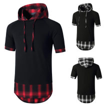 T-shirt Youth fashion Black, red routine S,M,L,XL,2XL Others Short sleeve Hood standard daily Four seasons youth routine Youthful vigor Sweat cloth 2021 Solid color Color contrast cotton Geometric pattern No iron treatment Non brand More than 95%