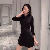Dress Autumn 2021 Black long sleeve S,M,L,XL,2XL Mid length dress Two piece set Long sleeves commute Crew neck High waist Solid color Three buttons A-line skirt routine Breast wrapping Type A Other / other literature Bows, pockets 31% (inclusive) - 50% (inclusive) cotton