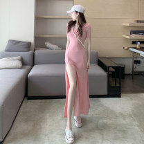 Dress Summer 2020 Black Pink Green S M L longuette singleton  Short sleeve commute V-neck High waist Solid color Socket Big swing routine Breast wrapping 18-24 years old Type A A shy child Korean version backless More than 95% brocade polyester fiber Pure e-commerce (online only)