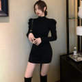 Dress Winter 2020 Black grey S M L Short skirt singleton  Long sleeves commute Half high collar High waist Solid color Socket Pencil skirt routine Breast wrapping 18-24 years old Type X A shy child Korean version Splicing More than 95% brocade polyester fiber Pure e-commerce (online only)