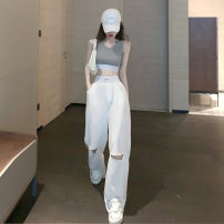 Fashion suit Summer 2020 S M L Grey vest grey trousers white trousers 18-25 years old A shy child S3902 96% and above cotton Polyester 98% polyurethane elastic fiber (spandex) 2% Pure e-commerce (online only)