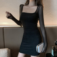 Dress Winter 2020 Black Khaki S M L XL Short skirt singleton  Long sleeves commute square neck High waist Solid color Socket Pencil skirt routine Breast wrapping 18-24 years old Type X A shy child Retro Open back stitching mesh More than 95% brocade polyester fiber Pure e-commerce (online only)