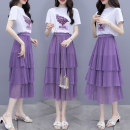 skirt Summer 2021 S M L XL XXL violet longuette commute High waist Cake skirt Solid color Type A 18-24 years old More than 95% Chiffon Li Xiu other Gauze Other 100% Pure e-commerce (online only)