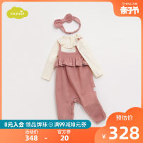 Jumpsuit / climbing suit / Khaki moimoln Class A female Greyish Pink 73cm 80cm 90cm cotton spring and autumn Long sleeves nothing Cotton 99% other 1% LOF1BARO42 Autumn of 2019 3 months 6 months 12 months 9 months