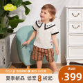 suit moimoln Ivory white 80cm 90cm 100cm 110cm male summer college Short sleeve + pants 2 pieces routine nothing children Expression of love Cotton 100% Summer of 2019 3 months 6 months 12 months 9 months 18 months 2 years 3 years 4 years old