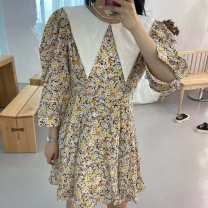 Dress Spring 2021 Green collar embroidered long sleeve dress 3231 eyes, yellow collar embroidered long sleeve dress 3231 eyes, skirt length 86, bust about 100 S, M