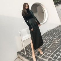 skirt Spring 2021 XS,S,M,L black longuette Versatile High waist skirt Solid color 81% (inclusive) - 90% (inclusive) other AYAH PU