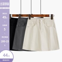 skirt Spring 2021 S,M,L,XL Grey, black, apricot Short skirt commute High waist A-line skirt Solid color Type A 18-24 years old 51% (inclusive) - 70% (inclusive) Other / other pocket Korean version