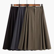 skirt Spring 2021 S,M,L Black, coffee, grey blue, blue thickened, black thickened, coffee thickened Mid length dress commute High waist A-line skirt Solid color Type A 18-24 years old 51% (inclusive) - 70% (inclusive) Other / other polyester fiber Button, zipper Korean version