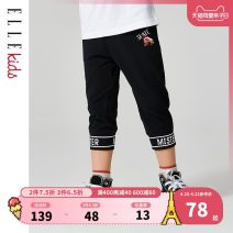 trousers elle kids male 110cm 120cm 130cm 140cm 150cm 160cm Black grey Navy summer Cropped Trousers leisure time There are models in the real shooting Casual pants Leather belt middle-waisted Don't open the crotch Cotton 94% polyurethane elastic fiber (spandex) 6% EKB209449 Class B Summer of 2019