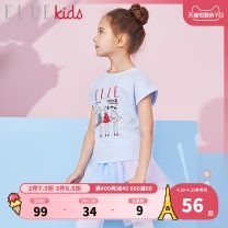 T-shirt Light blue pink white elle kids female summer Short sleeve Crew neck leisure time There are models in the real shooting nothing Cartoon animation Cotton 94% polyurethane elastic fiber (spandex) 6% EKB201141 Class B Summer of 2019