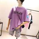 T-shirt Black, white, taro purple, pink Average size Summer 2021 Short sleeve Crew neck easy Regular routine commute cotton 86% (inclusive) -95% (inclusive) Korean version youth Letters, cartoons printing