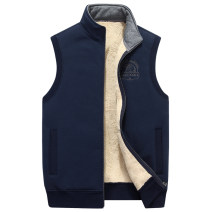 Vest / vest Fashion City ZHAN DI JI PU M,L,XL,2XL,3XL Other leisure easy Vest Plush and thicken autumn stand collar Large size 2018 Basic public Solid color zipper Rib hem cotton No iron treatment Flocking nothing Fleece Side seam pocket