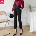 Casual pants black Collection baby = priority delivery + small gift s ml XL 2XL 3XL Spring 2021 trousers Straight pants High waist commute routine 30-34 years old The charm of butterfly polyester fiber Korean version pocket polyester fiber Other 100% Pure e-commerce (online only) Asymmetry