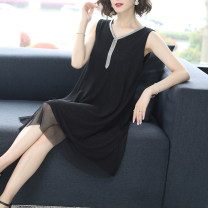 Dress Summer 2021 Black one, black two, black three M,L,XL,2XL,3XL Mid length dress singleton  Sleeveless commute Crew neck Loose waist Solid color Socket A-line skirt routine straps 40-49 years old Type A Korean version Rivets, cutouts, gauze 51% (inclusive) - 70% (inclusive) other Cellulose acetate