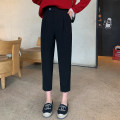 Casual pants black XS,S,M,L Spring 2021 trousers Straight pants Natural waist commute routine 25-29 years old 96% and above YG211409006 Small grains other Korean version pocket polyester fiber