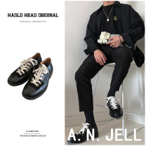 Low top shoes black 38, 39, 40, 41, 42, 43, which is the size of leather shoes Other / other Nubuck leather Frenulum Round head Hollow out leather shoes Pig skin The trend of youth daily Solid color Thick bottom spring and autumn rubber increase Adhesive shoes Youth (18-40 years old) Britain